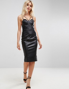 photo Faux Leather Seamed Bandeau Midi Dress by ASOS, color Black - Image 1