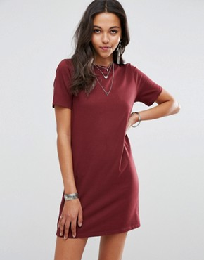 photo Open Back T-Shirt Dress with V-Back by ASOS, color Oxblood - Image 2