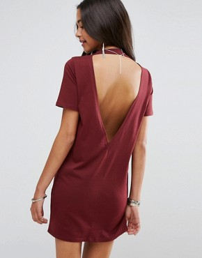 photo Open Back T-Shirt Dress with V-Back by ASOS, color Oxblood - Image 1