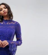 photo Lace Long Sleeve Mini Dress with Fluted Sleeves by ASOS, color Purple - Image 3
