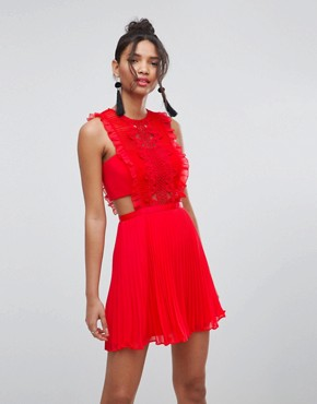photo Lace Pinafore Pleated Mini Dress by ASOS, color Bright Red - Image 1