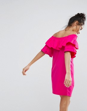 photo Off The Shoulder Double Frill Dress by Bershka, color Pink - Image 2