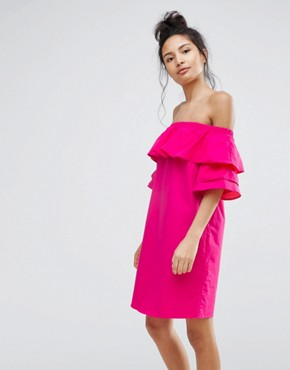 photo Off The Shoulder Double Frill Dress by Bershka, color Pink - Image 1