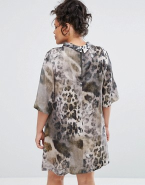 photo Animal Print High Neck Dress by Elvi, color Animal Print - Image 2