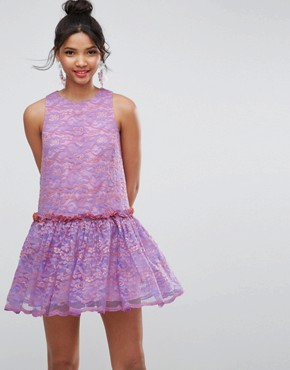 photo Lace Smock Drop Waist Mini Dress by ASOS, color Purple - Image 1