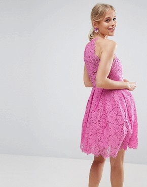 photo Lace Pinny Scallop Edge Prom Mini Dress by ASOS, color Bubblegum Pink - Image 2