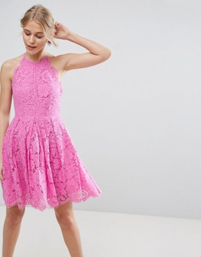 photo Lace Pinny Scallop Edge Prom Mini Dress by ASOS, color Bubblegum Pink - Image 1