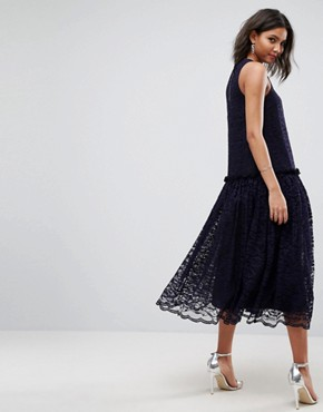 photo Lace Smock Drop Waist Midi Dress by ASOS, color Navy - Image 2