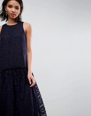 photo Lace Smock Drop Waist Midi Dress by ASOS, color Navy - Image 3