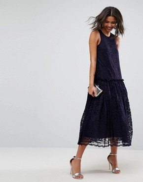 photo Lace Smock Drop Waist Midi Dress by ASOS, color Navy - Image 4