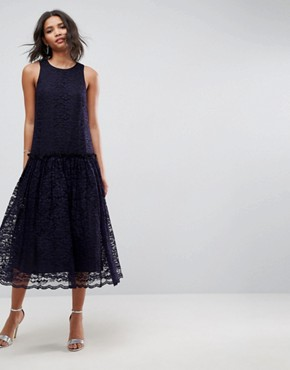 photo Lace Smock Drop Waist Midi Dress by ASOS, color Navy - Image 1
