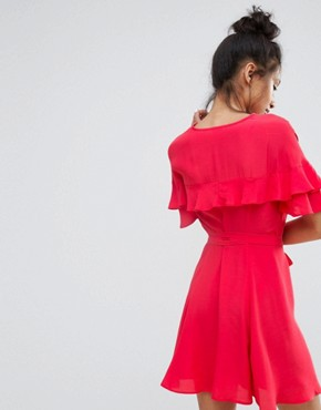 photo Ruffle Wrap Front Mini Dress by Bershka, color Coral - Image 2
