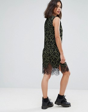 photo Sleeveless T-Shirt Dress with Lace Inserts in Khaki Leopard Print by ASOS PETITE, color Khaki - Image 2