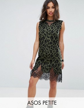 photo Sleeveless T-Shirt Dress with Lace Inserts in Khaki Leopard Print by ASOS PETITE, color Khaki - Image 1
