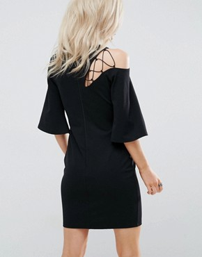 photo Fluted Sleeve Shift Dress with Ladder Detail by ASOS PETITE, color Black - Image 2