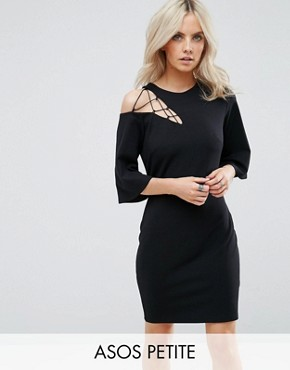 photo Fluted Sleeve Shift Dress with Ladder Detail by ASOS PETITE, color Black - Image 1