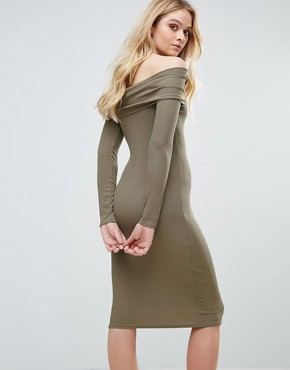 photo Ribbed Bardot Midi Dress by Love, color Mushroom - Image 2