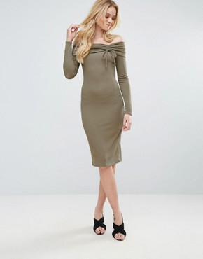 photo Ribbed Bardot Midi Dress by Love, color Mushroom - Image 4