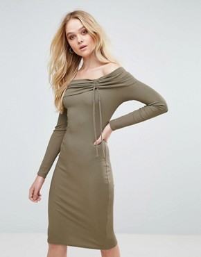 photo Ribbed Bardot Midi Dress by Love, color Mushroom - Image 1