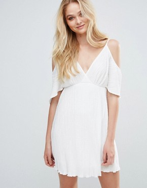 photo Pleated Cold Shoulder Dress by Love, color Ivory - Image 1