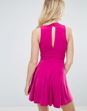 photo Twist Front Skater Dress by Love, color Berry - Image 2