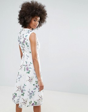 photo Floral Embroidered Skater Dress by Darling, color Cream - Image 2