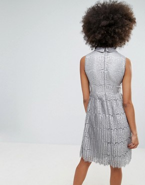 photo Metallic Lace Midi Dress with Pleated Skirt by Darling, color Pewter - Image 2