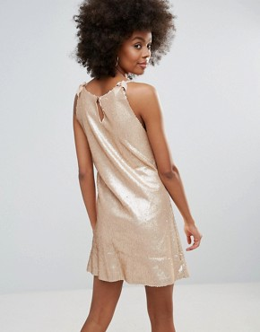 photo Racer Back Sequin Cami Dress by Darling, color Rose Cloud - Image 2