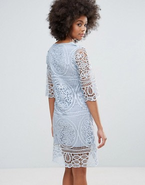 photo 3/4 Sleeve Crochet Lace Shift Dress by Darling, color Baby Blue - Image 2