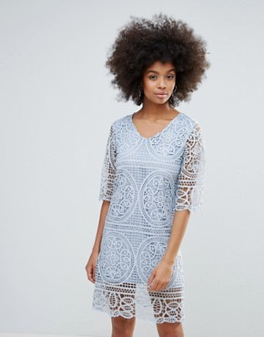 photo 3/4 Sleeve Crochet Lace Shift Dress by Darling, color Baby Blue - Image 1