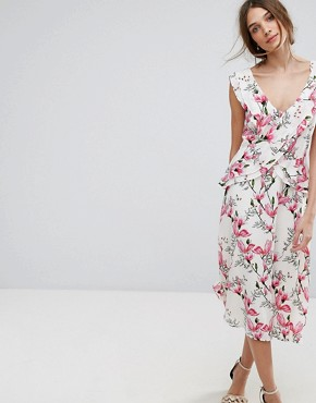 photo Floral Printed Ruffle Tea Dress by Oasis, color Multi - Image 1