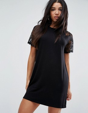 photo T-Shirt Dress with Lace Raglan Sleeve by ASOS, color Black - Image 1
