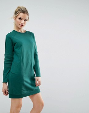 photo Oversized Sweat Dress with Quilting Detail by ASOS, color Green - Image 1