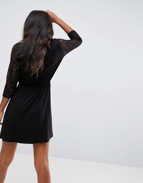 photo Mini Smock Dress with Lace Sleeves by ASOS, color Black - Image 2