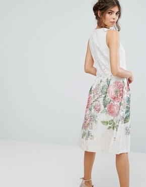 photo Lace Top Floral Jacquard Midi Dress by Oasis Royal Worcester, color Multi - Image 2
