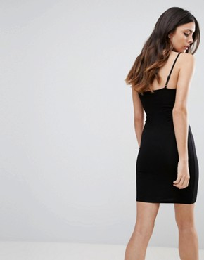 photo Mini Seam Detail Cami Bodycon Dress by ASOS, color Black - Image 2