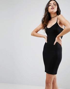 photo Mini Seam Detail Cami Bodycon Dress by ASOS, color Black - Image 1