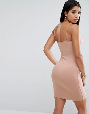 photo Mini Seam Detail Cami Bodycon Dress by ASOS, color Nude - Image 2