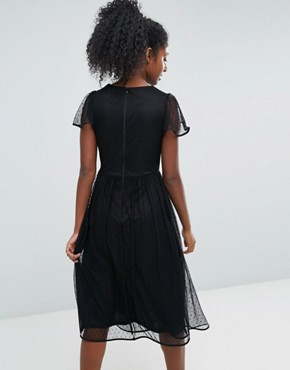 photo Embroidered Mesh Skater Dress by Oasis, color Black - Image 2