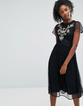 photo Embroidered Mesh Skater Dress by Oasis, color Black - Image 1