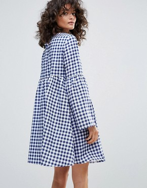 photo Gingham Smock Dress by Vero Moda, color Blue White Check - Image 2