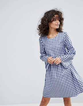 photo Gingham Smock Dress by Vero Moda, color Blue White Check - Image 1