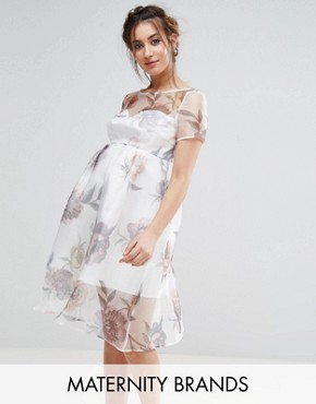photo Floral Midi Dress by Chi Chi London Maternity, color Multi - Image 1