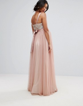 photo Embellished Bodice Cami Maxi Dress with Tulle Skirt and Bow Back by Maya Maternity, color Pink - Image 2