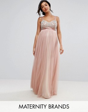 photo Embellished Bodice Cami Maxi Dress with Tulle Skirt and Bow Back by Maya Maternity, color Pink - Image 1