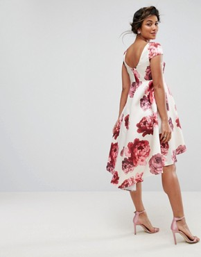 photo Floral Midi Dress with Dip Hem by Chi Chi London Maternity, color Multi - Image 2