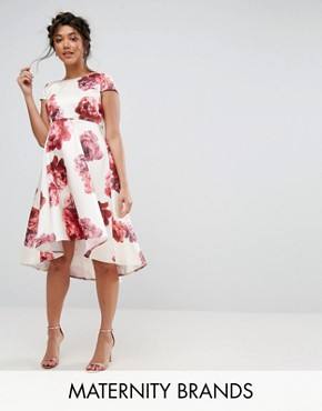 photo Floral Midi Dress with Dip Hem by Chi Chi London Maternity, color Multi - Image 1