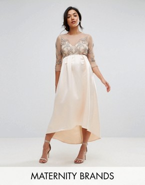 photo Embellished Bodice Midi Dress with Satin Hi Low Hem by Maya Maternity, color Pink - Image 1