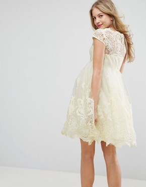 photo Embroidered Prom Dress with Tulle Skirt by Chi Chi London Maternity Premium, color Yellow - Image 2