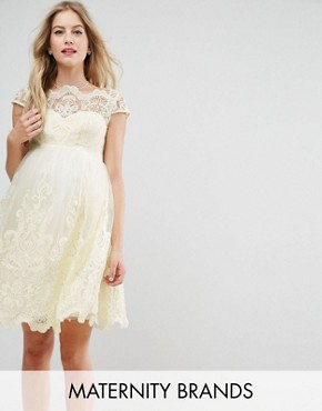 photo Embroidered Prom Dress with Tulle Skirt by Chi Chi London Maternity Premium, color Yellow - Image 1